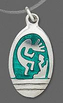 Kokopelli Pewter Necklace Green Background